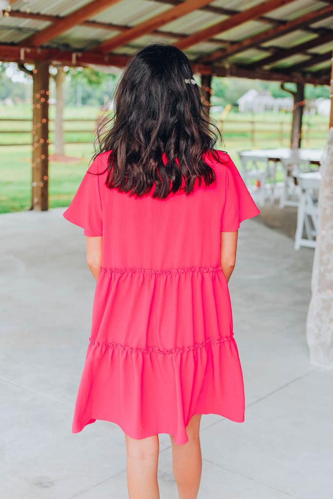 Sweet Babydoll Dress - Coral