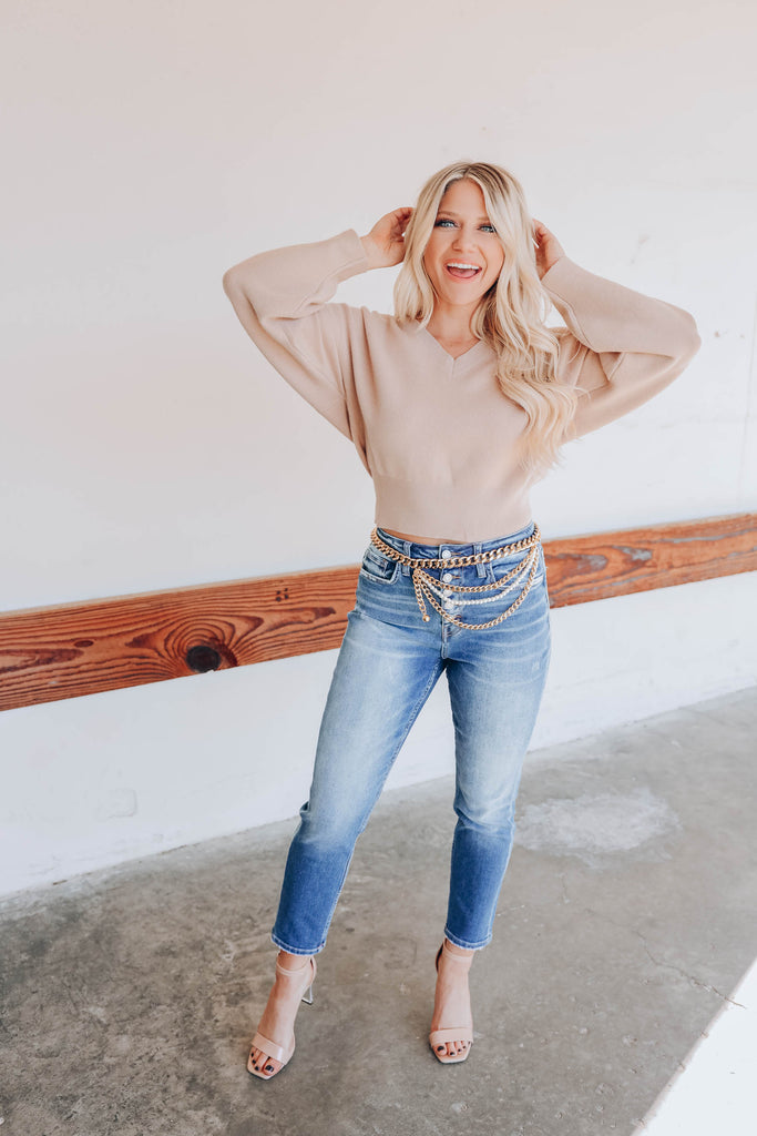 Concord Cropped Sweater - Taupe