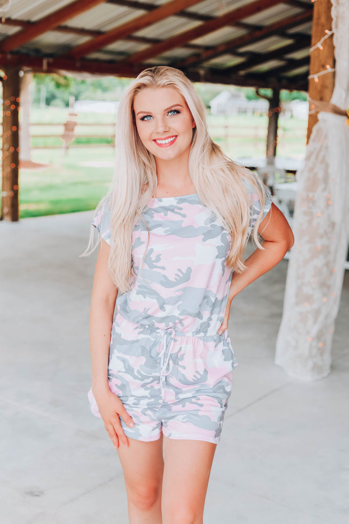 Run With It Camo Romper - Pink