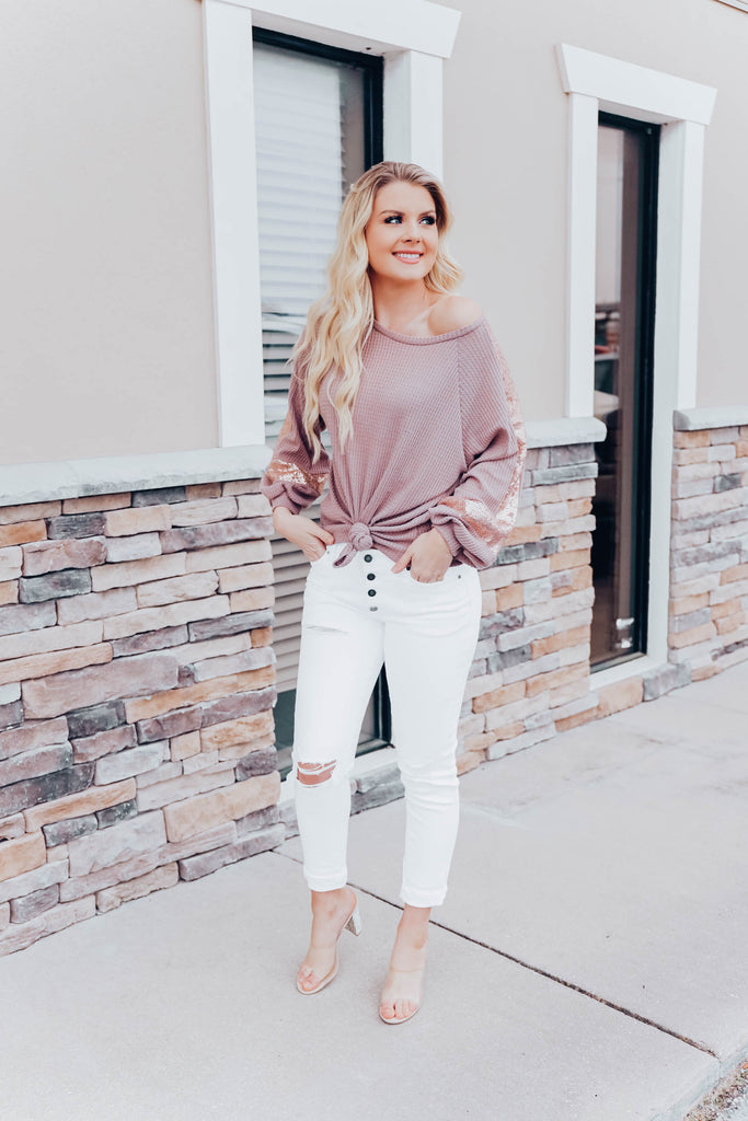 Shining Brightly Top - Taupe