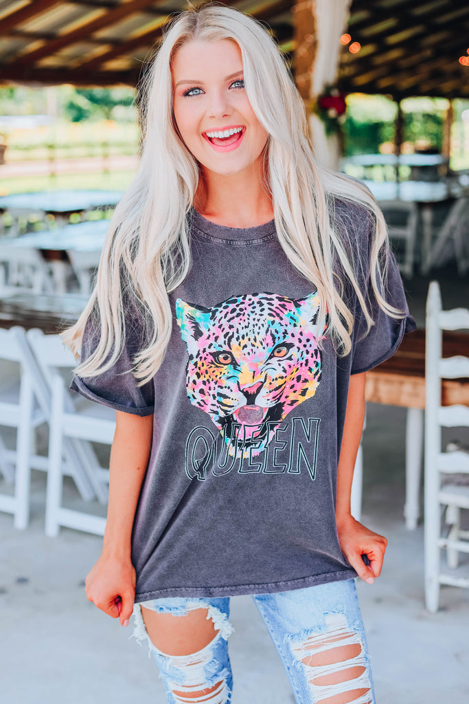 Leopard Queen Graphic Tee - Black