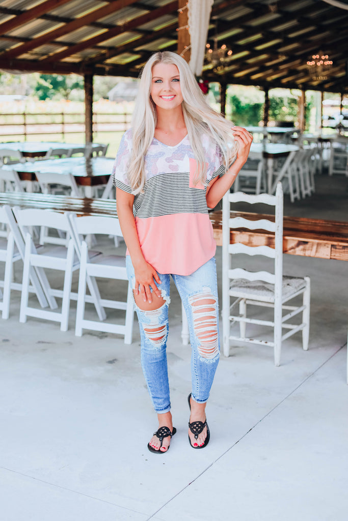 Pop Of Color Top - Peach
