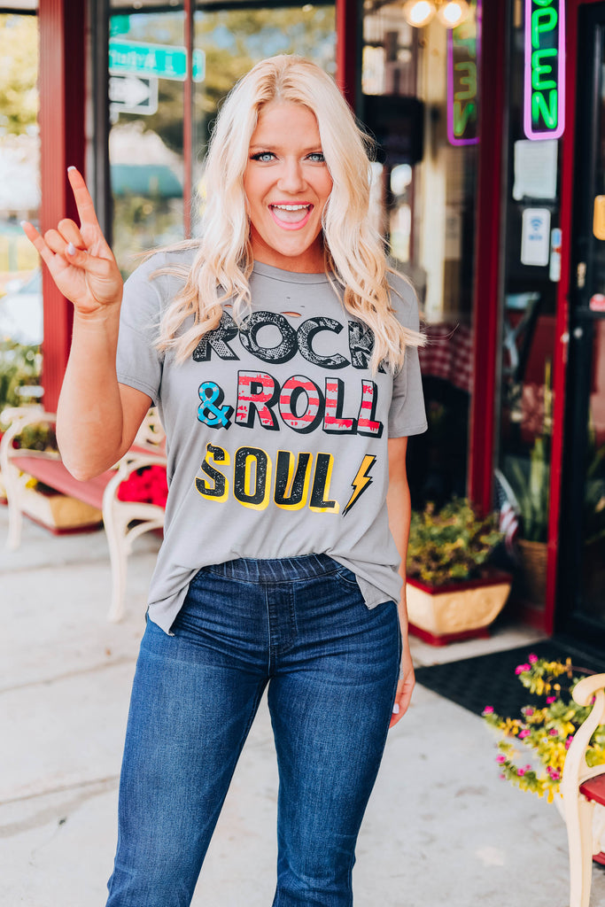 Rock & Roll Soul Graphic Tee - Grey