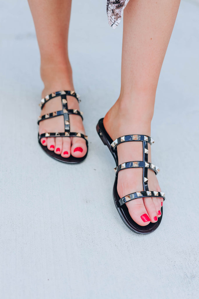 Call Me A Diva Studded Sandals - Black