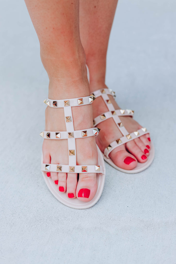 Call Me A Diva Studded Sandals - Natural