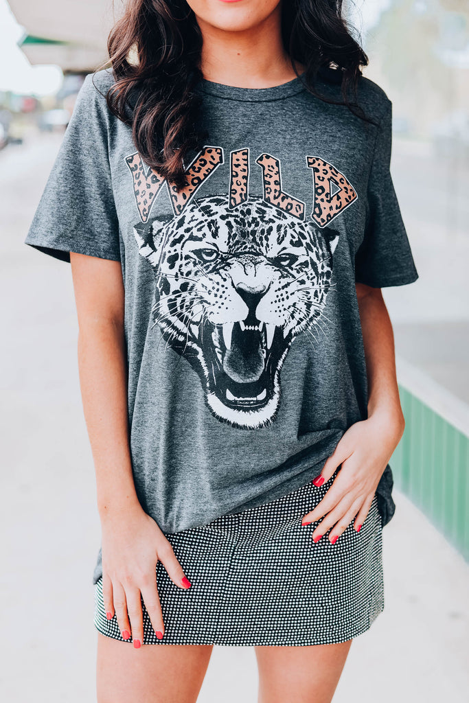 Wild Cheetah Graphic Tee - Charcoal
