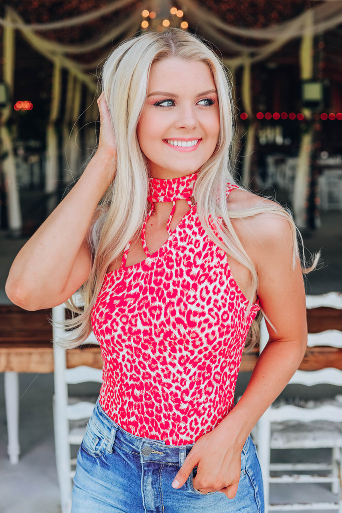 Lushes Leopard Body Suit - Red