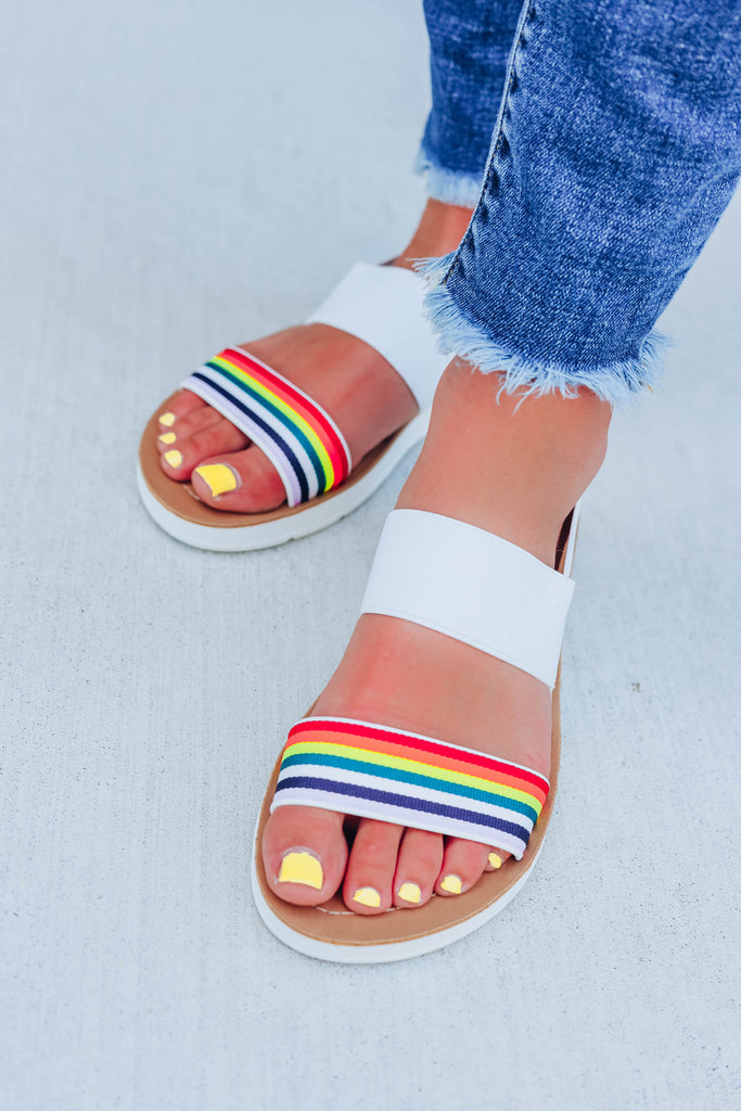 Over The Rainbow Sandals- Rainbow and White