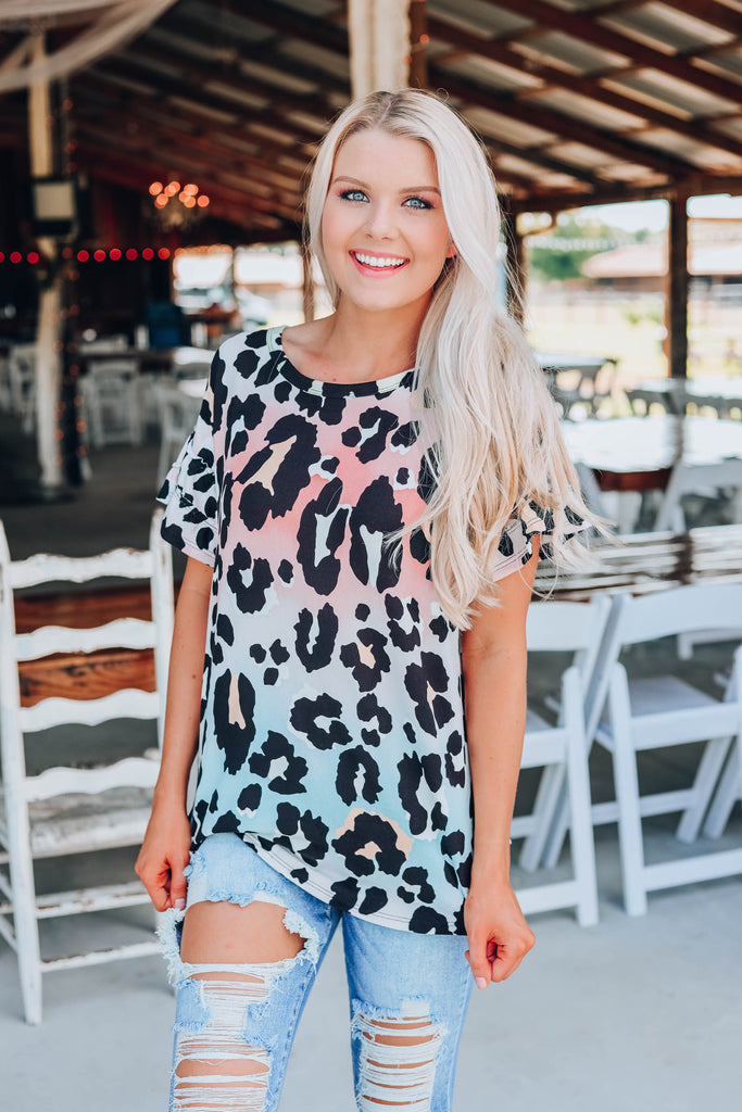 Ombre Cheetah Print Top - Pastel