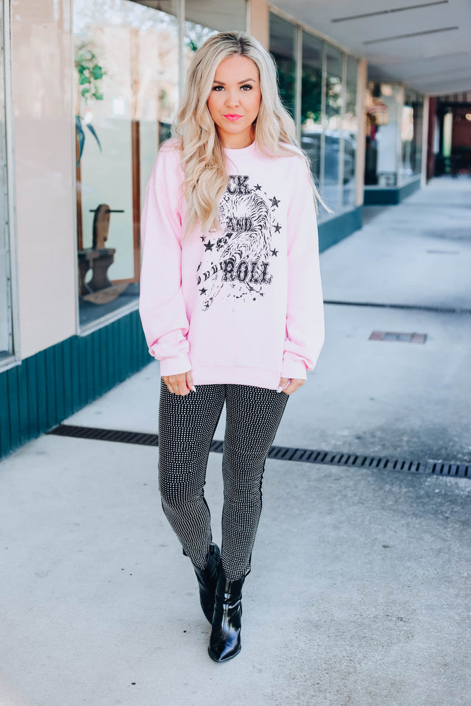 Rock And Roll Pullover - Pink