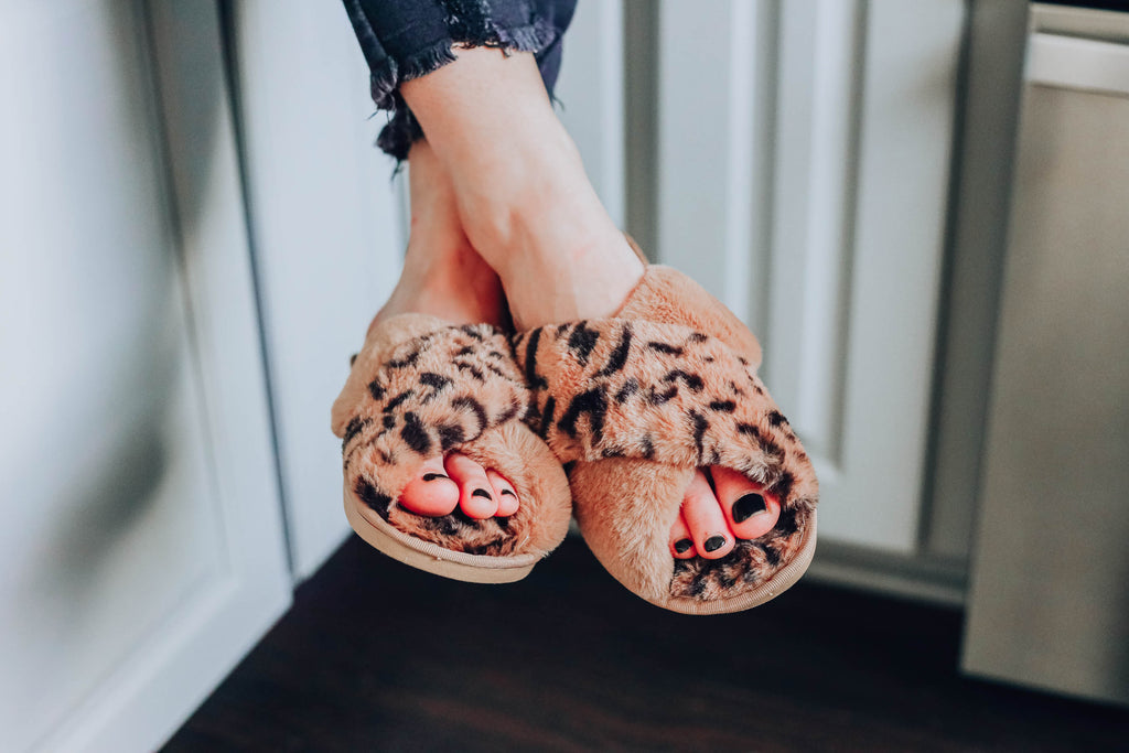 Let's Get Cozy Leopard Slippers - Tan