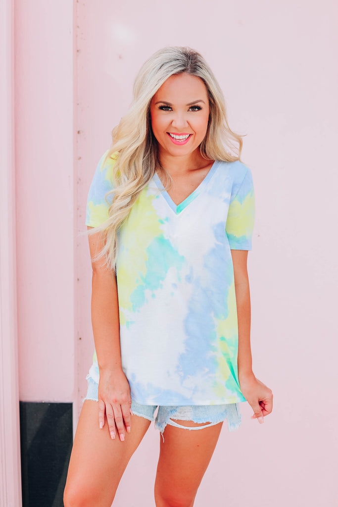 Time For Tie Dye Top - Mint Multi