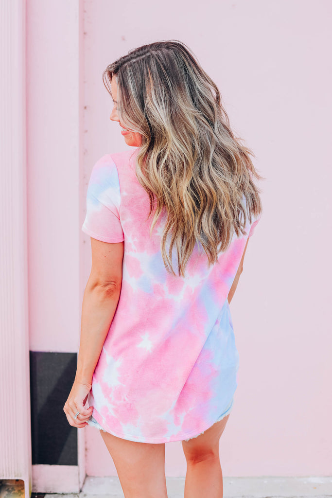 Time For Tie Dye Top - Pink Multi