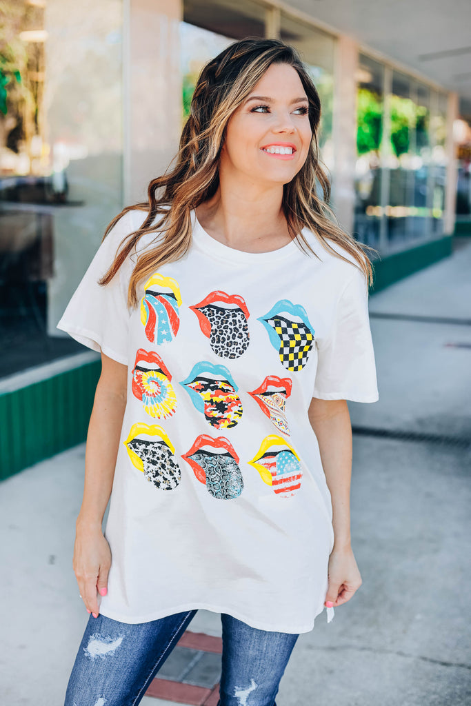 Multi Tongue Print Graphic Tee - White