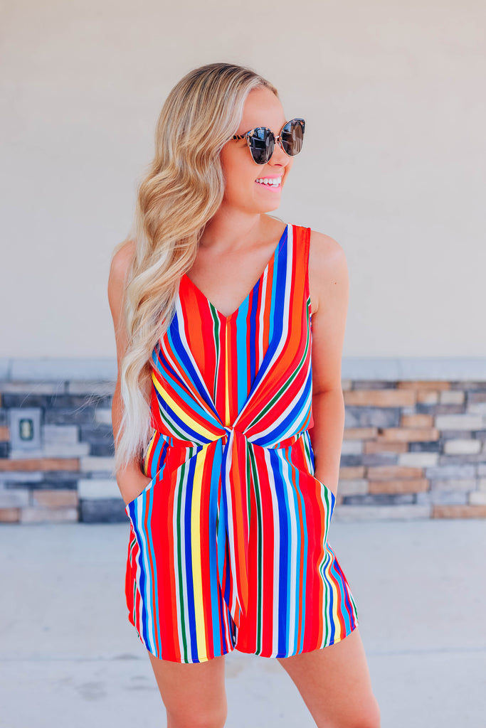One Thing Right Striped Romper