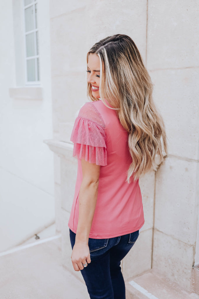 Girls Wanna Have Fun Lace Top - Hot Pink