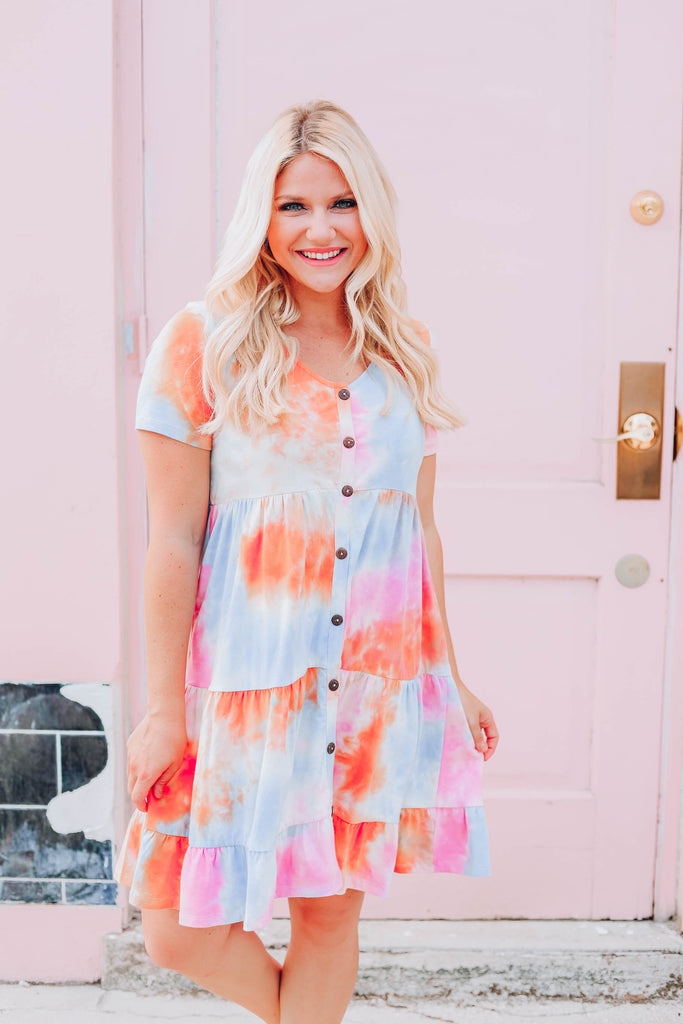 Blushing Tie Dye Babydoll Dress