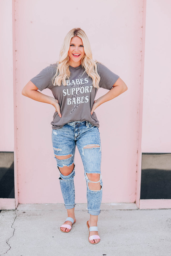 Babes Support Babes T-Shirt - Charcoal