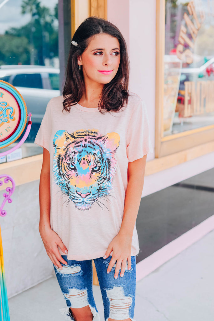 Tiger Tie Dye Graphic Tee - Peach