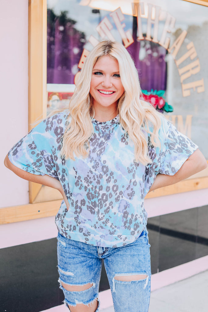 Tie Dye Skies Leopard Top - Blue