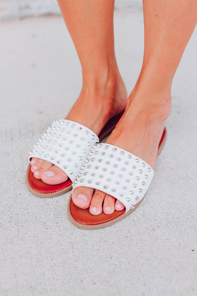 Strikingly Studded Sandals - White
