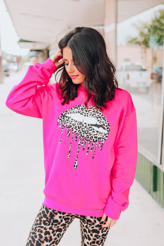 Leopard Drippy Lip Sweatshirt - Pink