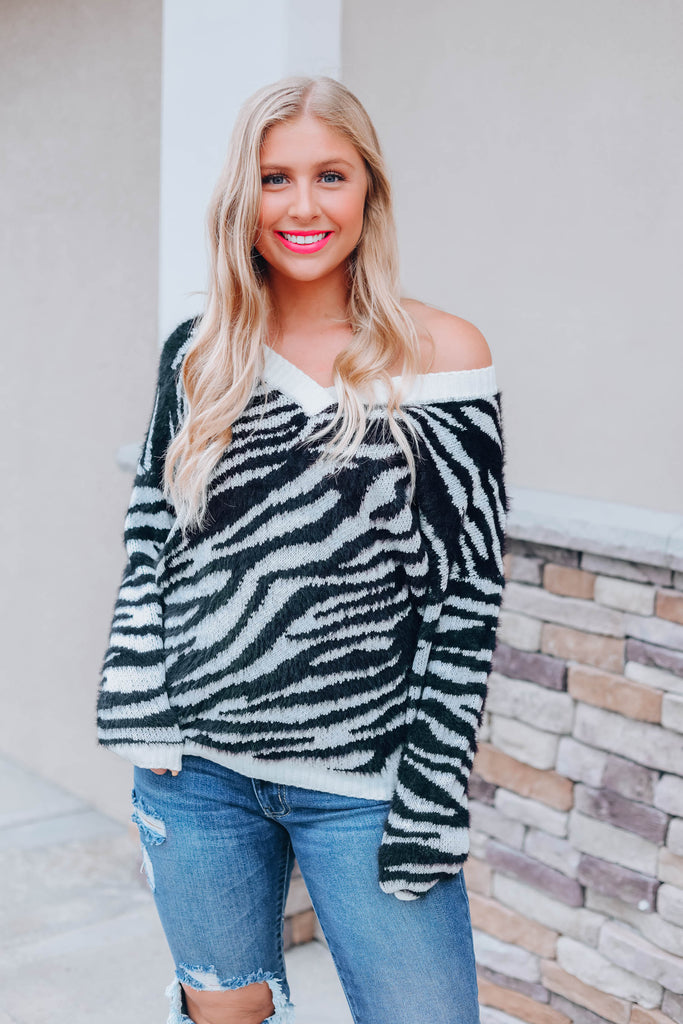 Look For That Zebra Sweater - Black