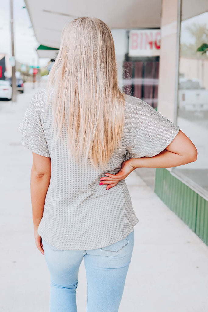 Spicy Sequin Top - Taupe