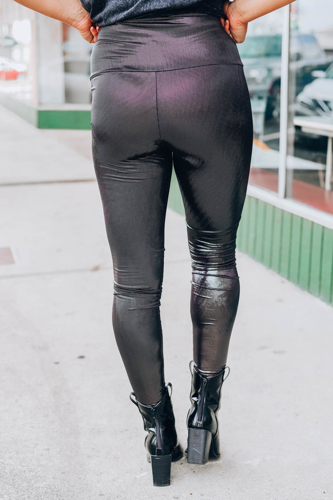 Look At Me Now Metallic Leggings - Black