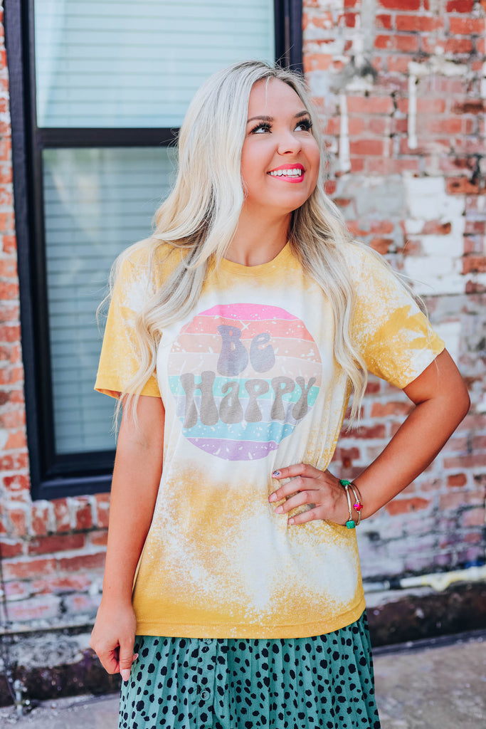 Be Happy Bleach Wash Graphic Tee - Mustard S-2X