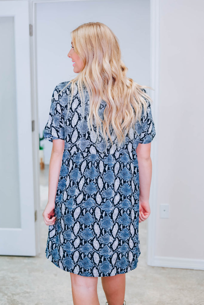 Take It Easy Snakeskin Dress