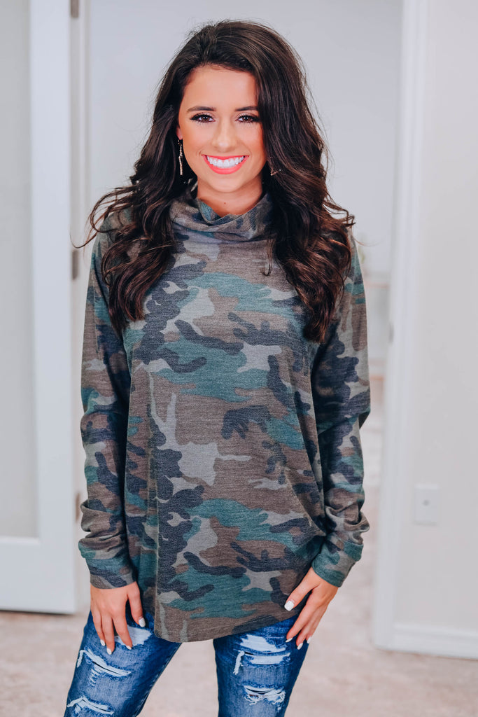Ally Turtleneck Top - Camo