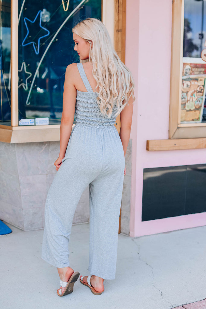 Free And Easy Cropped Jumpsuit - Grey