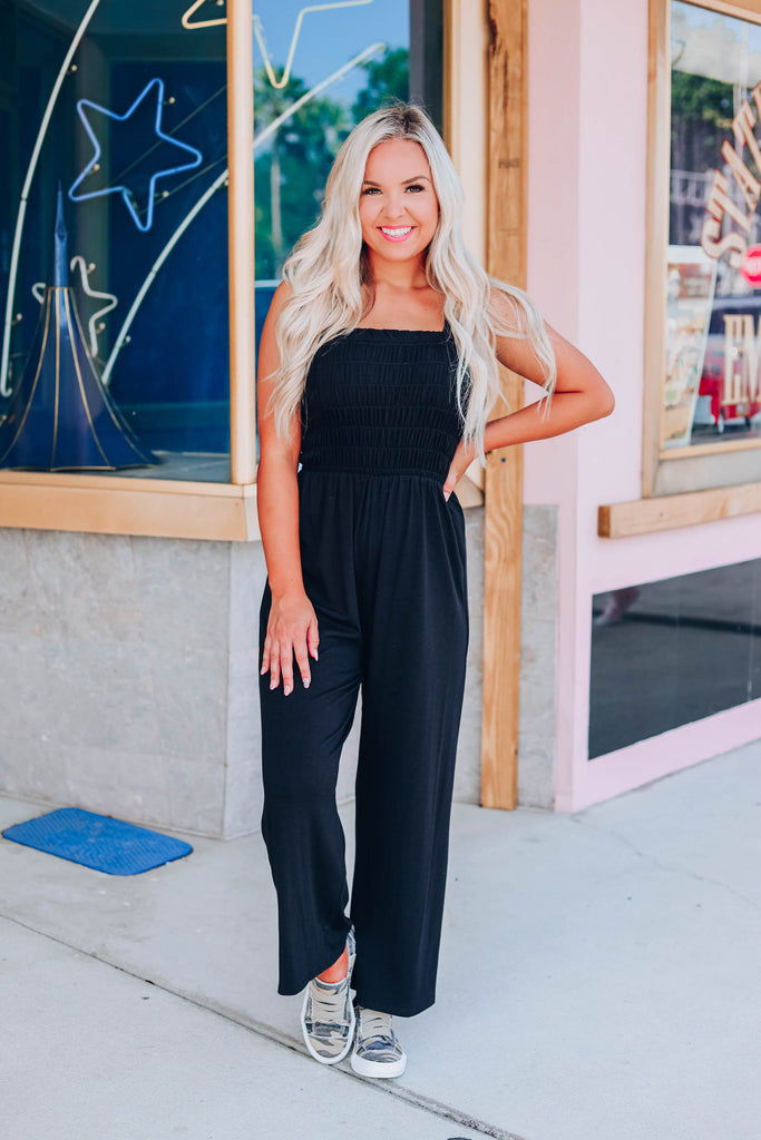 Free And Easy Cropped Jumpsuit - Black