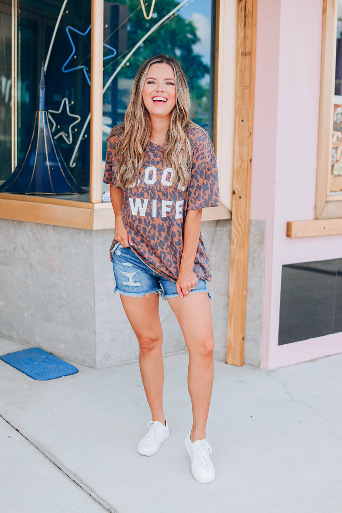 Cool Wife Leopard Graphic Tee - Brown