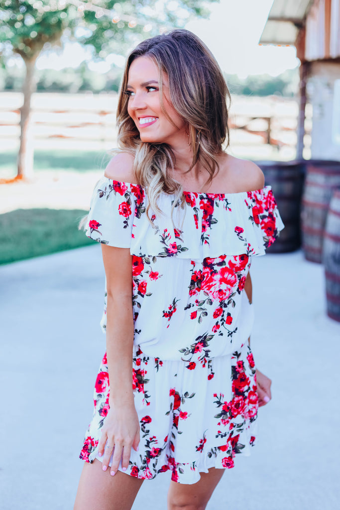 Only See You Floral Romper - White