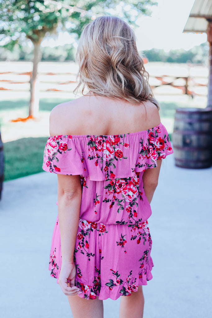 Only See You Floral Romper - Dusty Rose