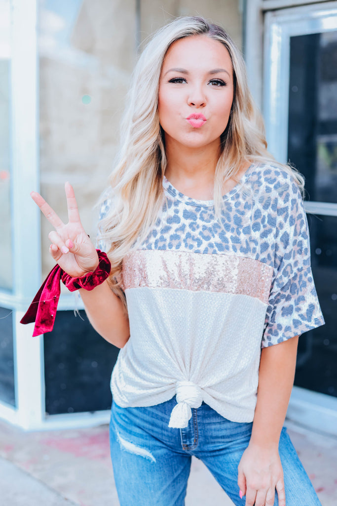 Wild Thoughts Sequin Leopard Tee