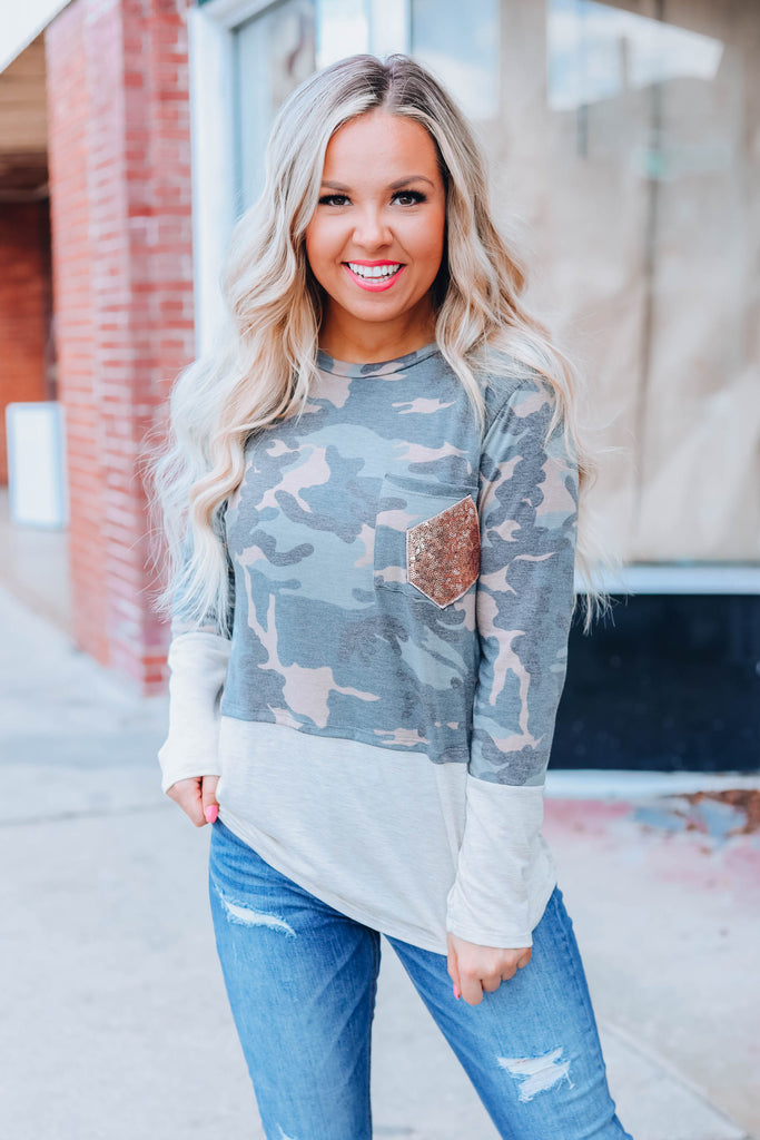 Fall In Love Again Camo Top