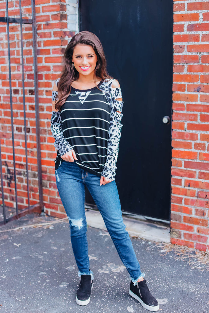 Ripped Away Leopard Raglan Top