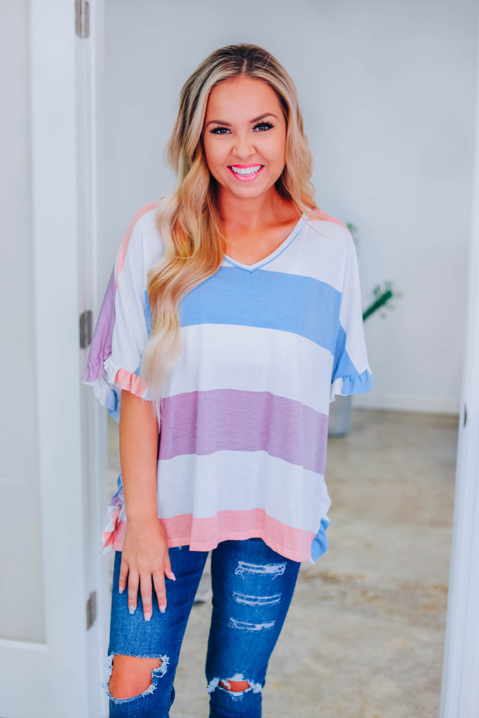 Lie To You Striped Top - Purple - Slightly Imperfect