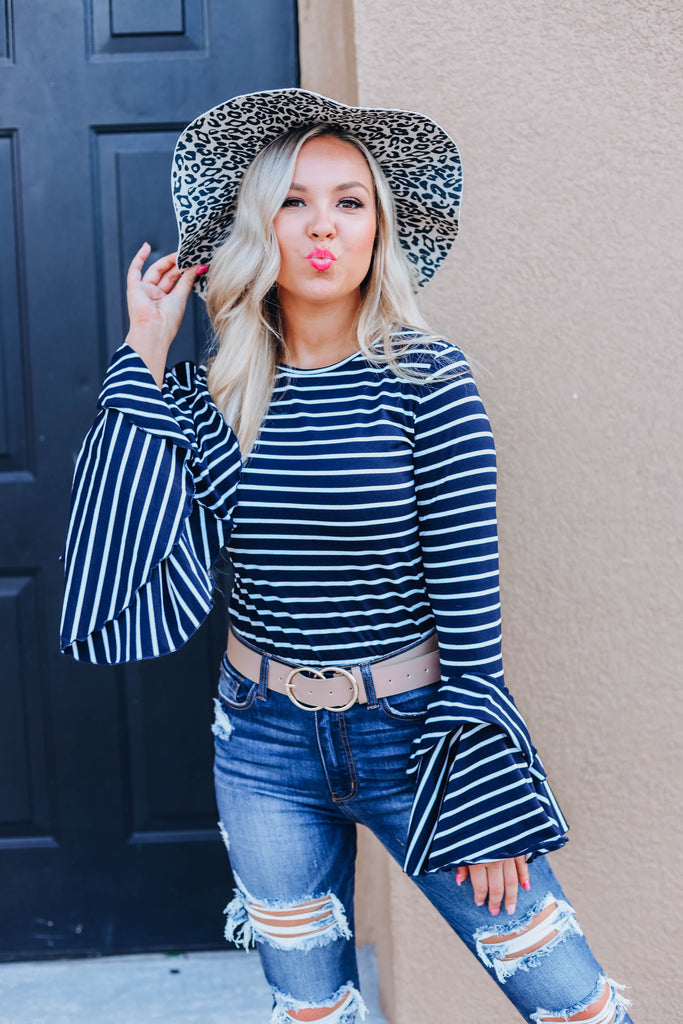Tell Me Something More Striped Top - Navy