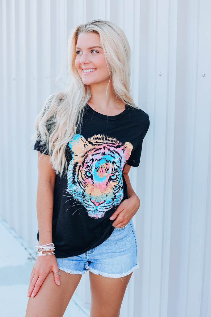 Tiger Tie Dye Graphic Tee - Black