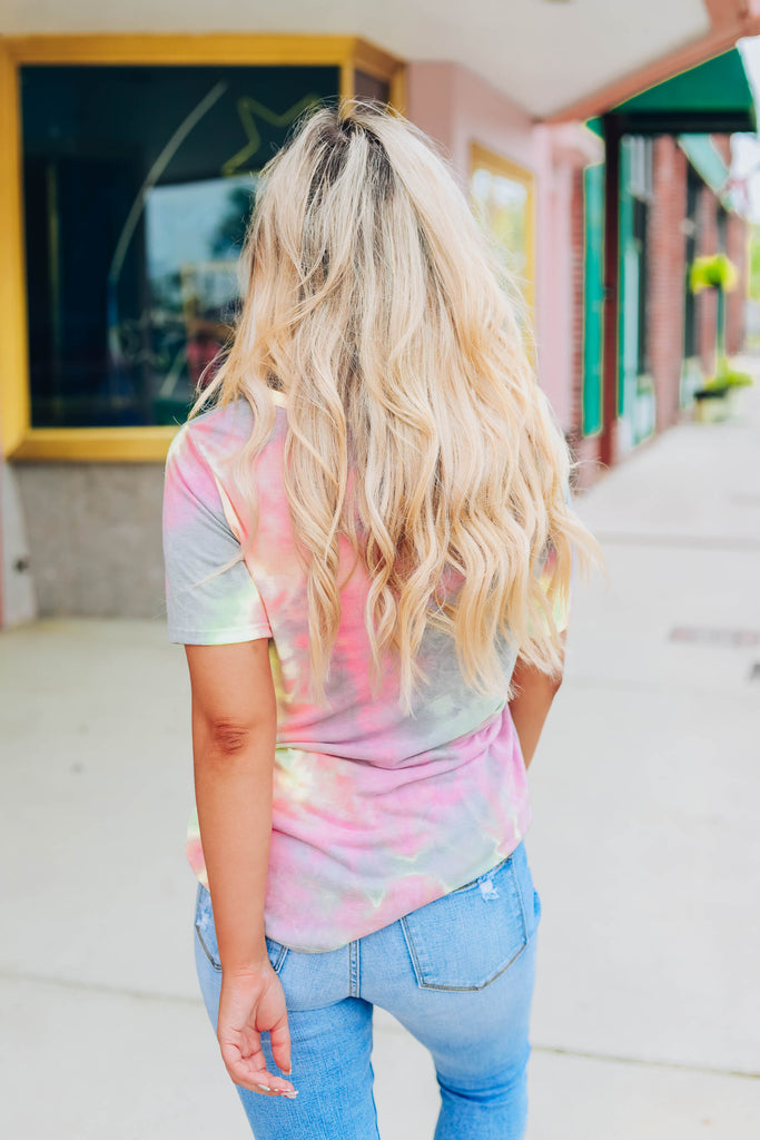 Sunshine In Her Eyes Tie Dye Top - Gray