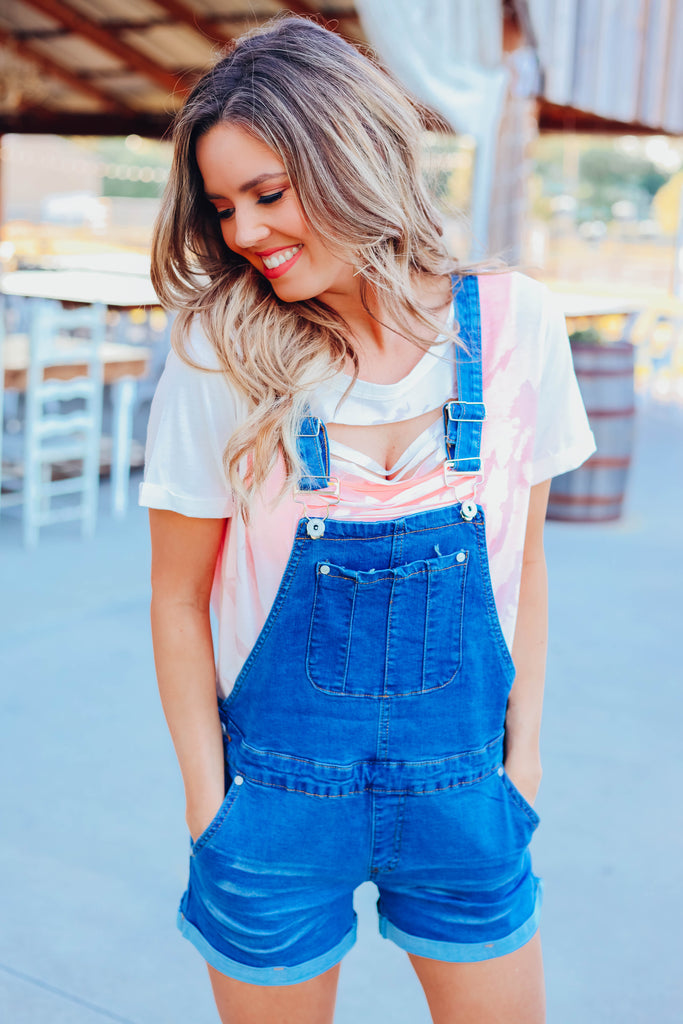 Presley Overall Denim Shorts - Medium Wash