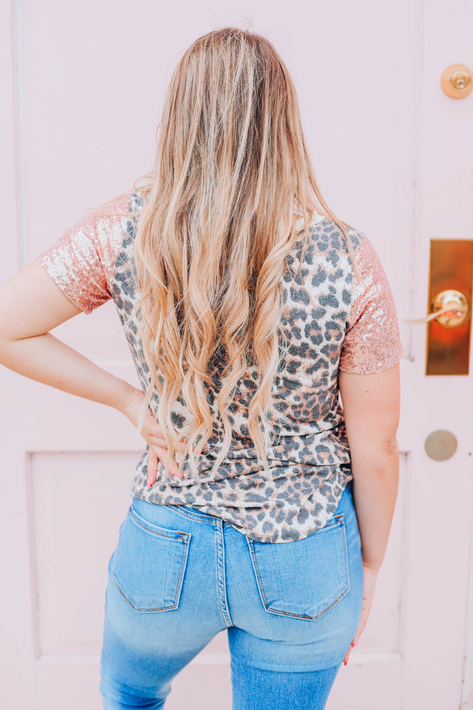 Leopard And Sequins Top