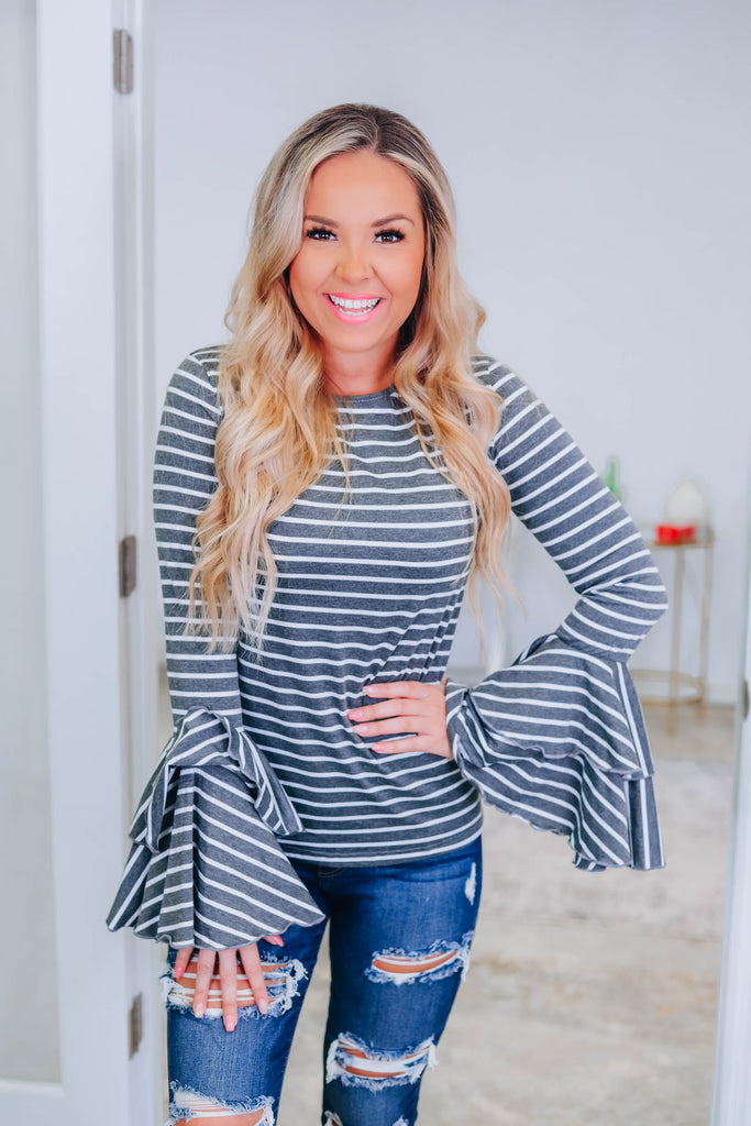 Tell Me Something More Striped Top - Grey