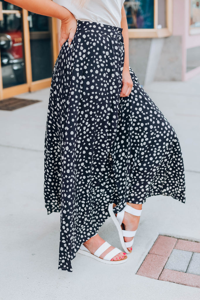 Dixie Polka Dot Maxi Skirt - Black
