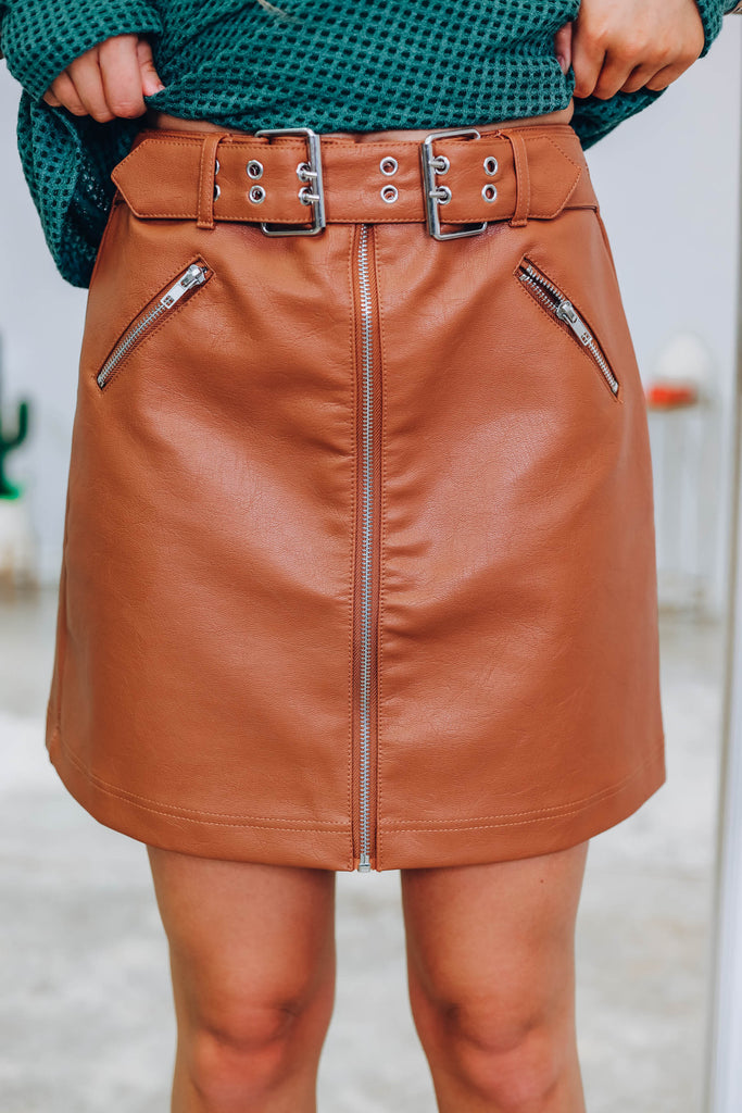 End Game Faux Leather Skirt - Camel