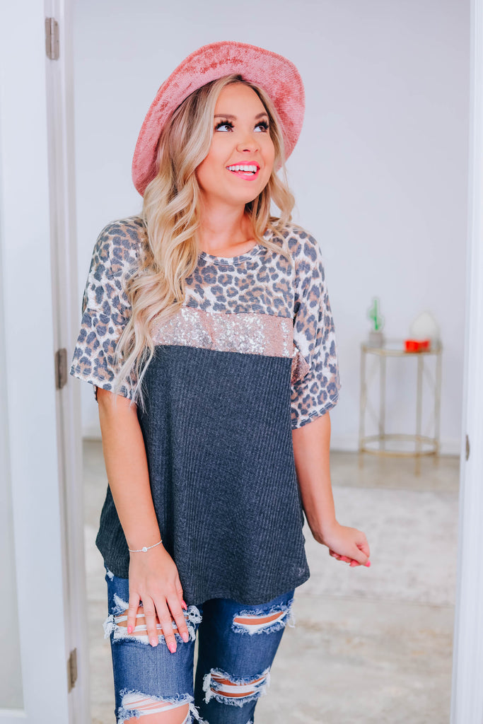 Wild Thoughts Sequin Leopard Tee - GREY